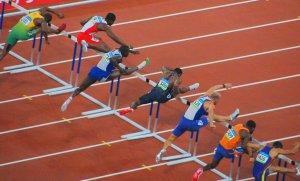 hurdlers on track