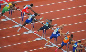 hurdlers on track