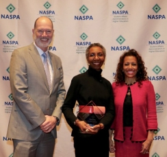 Bobby E. Leach Equity, Diversity, and Inclusion Award Recipient Gwen Dungy with NASPA President Kevin Kruger and Board Chair Lori White.