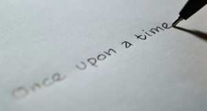 once upon a time, printed on white paper