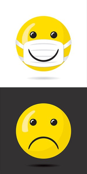 emoji with smiley face on mask and frowning emoji with no mask
