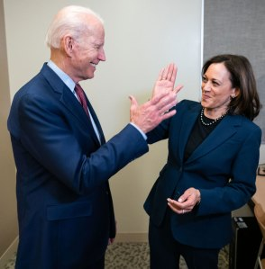 Joe Biden and Kamala Harris high five
