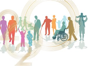 2020 overlaida on different colored silhouettes of people of varying ages and abilities
