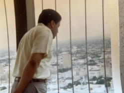 Charles looking out from the top of the Tower of the Americas
