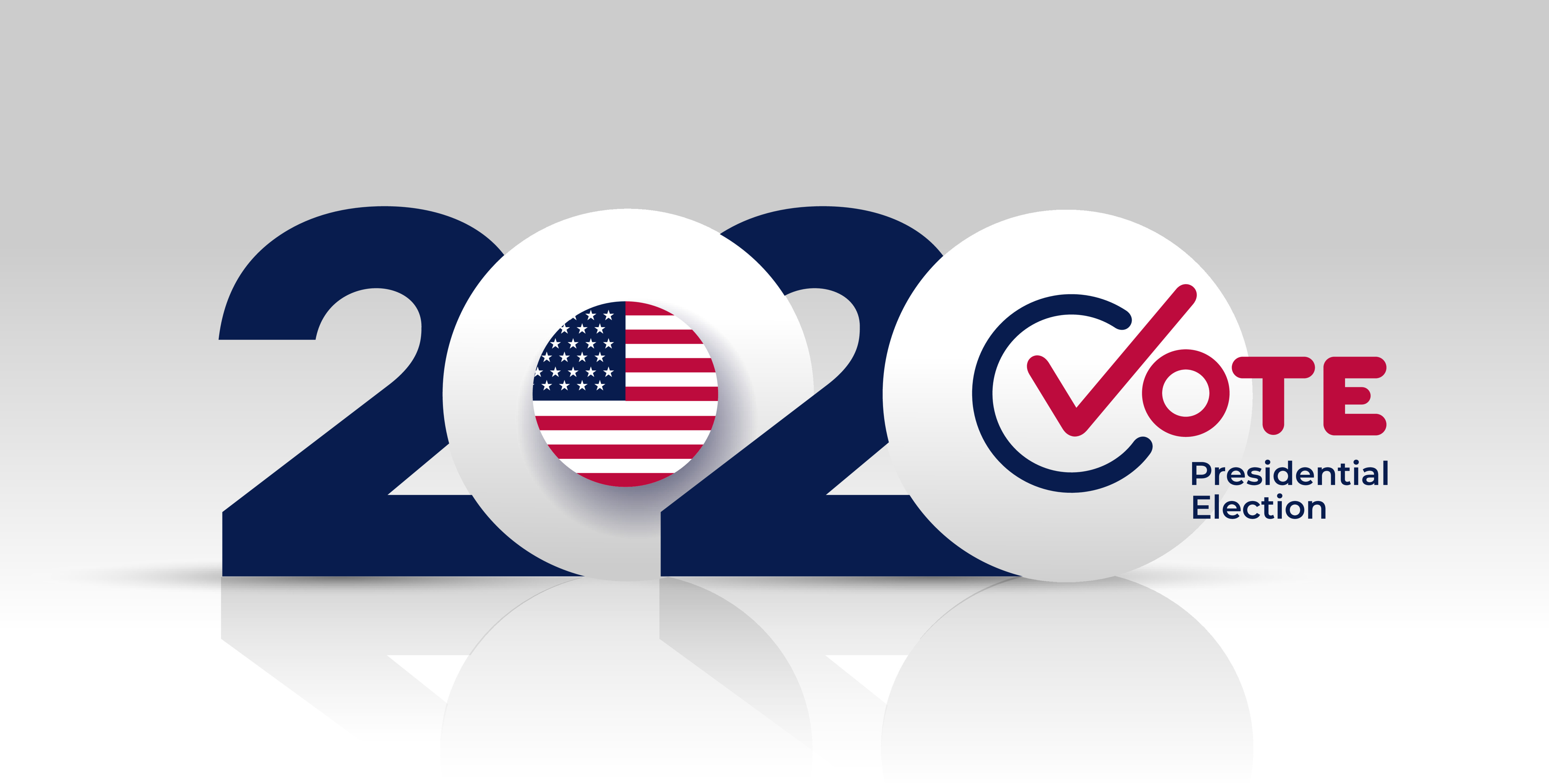 2020 Vote US Presidential election. With US flag on neutral background